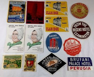 Lot of 14 Antique Luggage Labels Various Hotels