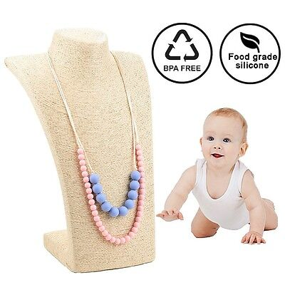 Silicone Teething Necklace Baby Toy for Mom Teether Safe Chew Beads BPA Free