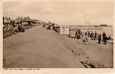 Postcard - West Cliff and Beach, Clacton-On-Sea - UNUSED VERY GOOD CONDITION