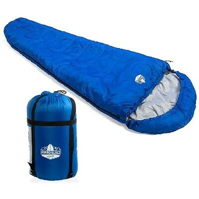 Mummy Sleeping Bag + Carry Bag -3°C Hooded Water Resistant Camping Hunting Tent