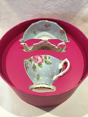 Royal Albert New Country Roses Polka Blue Teacup/Saucer & Teatip Set
