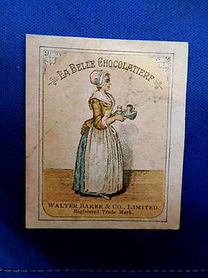 BAKERS COCOA Label for Chocolate Cocoa Candy from 1880's Trade Card Scrapbook