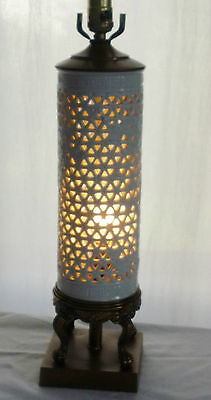 Tall Japanese White Porcelain Lamp Reticulated Blanc de Chine w Interior Socket