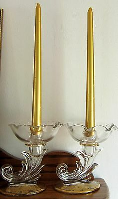 Set of 2 Vintage Glass w/ Gold trim Candle Holders VIEW ALL PHOTOS