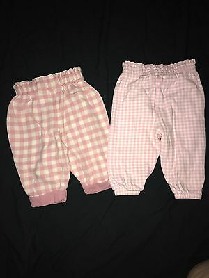 Lot of 2 Pink and White Infant Girl Pants. Sz 6-9 Mo.