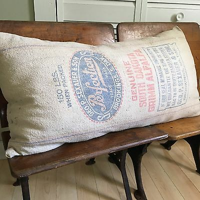 Antique Vintage 40's Grain Sack Pillow South Dakota Co Farmhouse Flour Feedsack