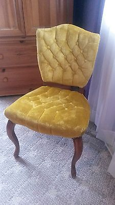 Antique Gold Upholstered Tufted Wooden Chair Desk Dining
