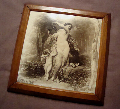 ANTIQUE MINTON HOLLINS 8x8 FINE ART PICTURE TILE VENUS CUPID VICTORIAN