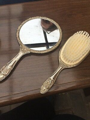 Silver Plated Mirror and Brush
