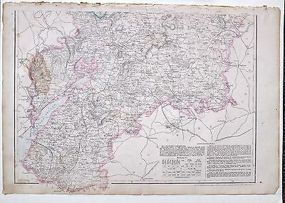 1864 Large Antique Map ~ Worcestershire Gloucestershire South Dursley Wickwar