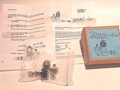 Mills 0.4 cc  Diesel via Dave Banks in box plus papers for Free Flight Models