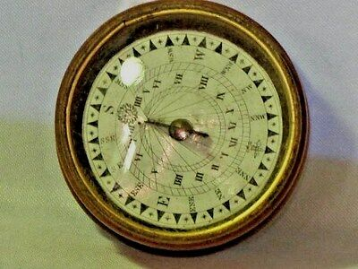 Antique EnglishTurned  Fruitwood Horizontal Sundial Compass Circa 1860's