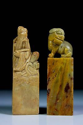 Antique Pair Of Chinese Hardstone Seal Stamp Foo Fu Dog Shoushan