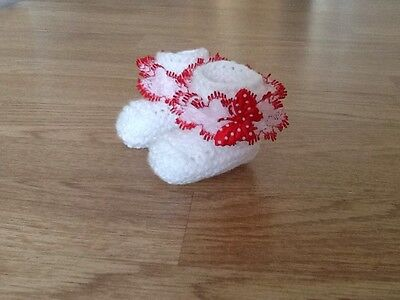 Baby Girls Hand Knitted Booties Newborn White / Red Lace & Butterfly