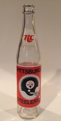 Vintage RC COLA commemorative Glass Bottle Pittsburgh Steelers Three Rivers 70s