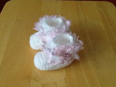 Baby Girls Hand Knitted Booties Newborn White / Pink Lace & Butterfly