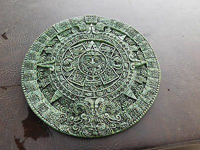 Zarebski Aztec Maya Wall Hanging Art Plaque Crushed Jade Green Malachite Stone