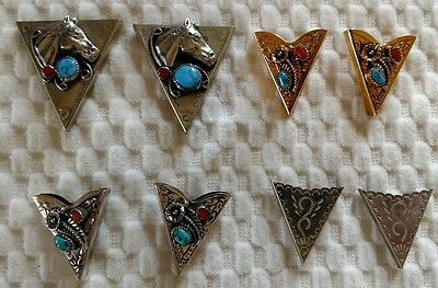 4 Sets COLLAR TIPS For Shirts Silver Turquoise Coral NICE!
