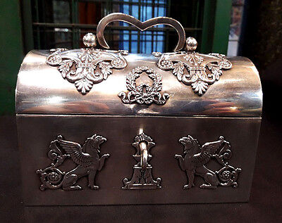 Antique French Silver Plated Bronze Empire Jewelry Box