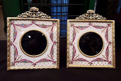 Pair Of Antique French Sevres Porcelain Small Picture Frames