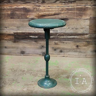 Vintage Industrial Green Wood Cast Iron Bar Stool Pedestal Seat