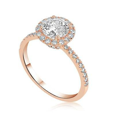 1.55 Ct D/VS2 Round Cut Real Diamond Engagement Ring 14K Rose Gold