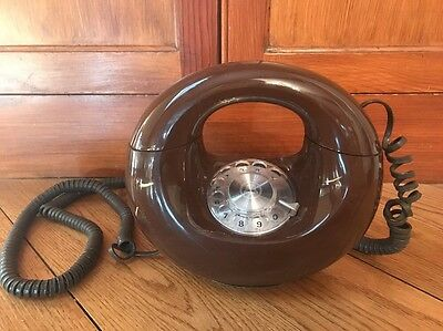 Vintage Western Electric Brown Sculptura Rotary Telephone-Donut Style