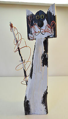 Whimsical Rustic Black and White Wood Cat Figure with Copper Wire Accents