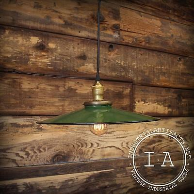 Vintage Industrial Green Porcelain Enamel Pendant Light Shade