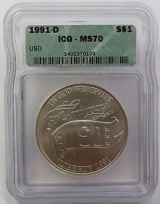 Low PoP 1991-D ICG MS 70 USO 50th ANNIVERSARY Commemorative SILVER Dollar $1