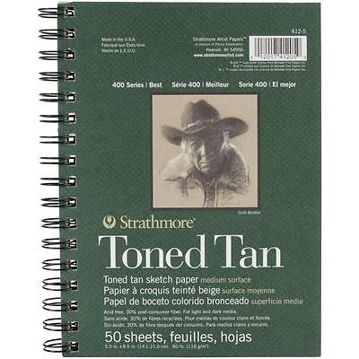 """Strathmore Spiral Toned Sketch Book 5.5""""X8.5""""-Tan 50 Sheets 1 Pack NEW"""