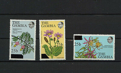 Gambia MNH Set Flowers Plant Life Overprint Lily Mimos CV$$$ Low Start!!! 22-024