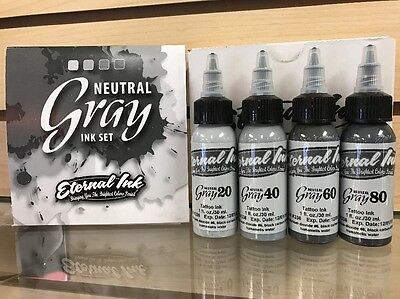 """Eternal Tattoo Ink """"Neutral Gray"""" 4 Color 1 Ounce Ink Set 100% Authentic Opaque"""