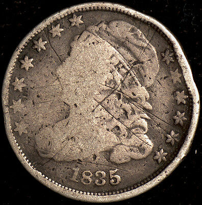 1835 P Capped Bust Dime 10c AG Details - Almost Good Better Date!!!