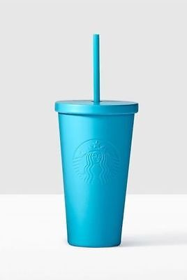 NEW Starbucks Tiffany Blue Matte Stainless Steel Cold Cup 16 fl oz