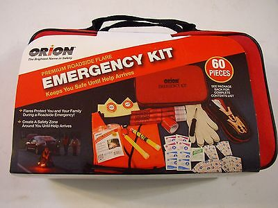 New Orion Emergency Roadside Kit 60 Pcs Flares Jumper Cables First Aid Supplies