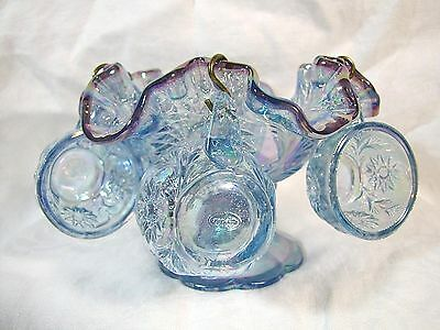 Fenton Art Glass Misty Blue Carnival Plum Crest Child's Punch Set