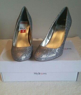 a8fb601da03 Blossom Macy 40 Silver Shimmer Peep Toe Rhinestone Caged Heels.  49.85 Buy  It Now 24d 8h. See Details. New Style   co Blossom Silver Glitter Evening  Slip-On ...