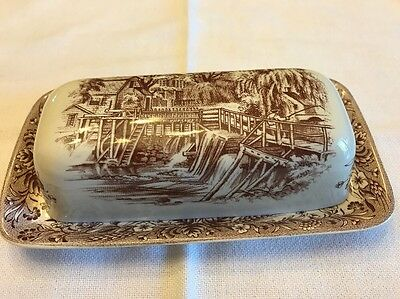 "CURRIER and IVES BUTTER DISH w Lid  Brown ""Mill Dam""  Heritage Churchill England"