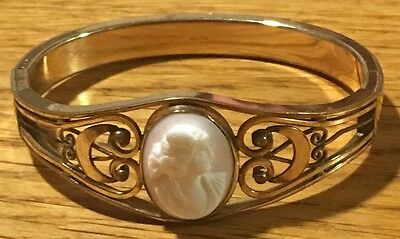 Antique CAMS Co Gold Plated Hinged Bracelet w/Cameo~Gorgeous Details