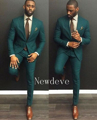 Custom Made Men's Wedding Suits Cyan 3 Piece Groom Fashion Tuxedos Formal