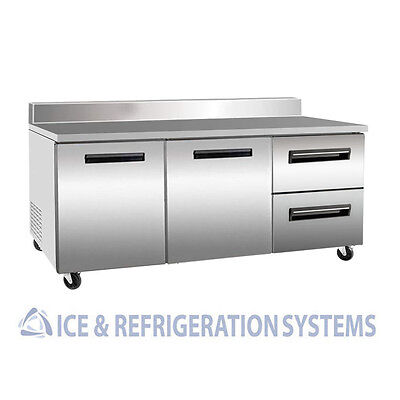 "Sun Ice Commercial 72"" Worktop Drawer Reach In Refrigerator w/ Back SUNUR72BS2DR"