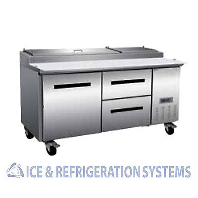 """Sun Ice Commercial 71"""" Pizza Prep Drawer Refrigerator Cooler Table SUNPT-67-2DR"""