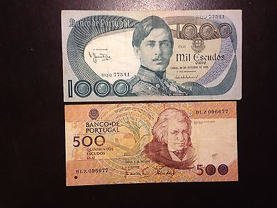 PORTUGAL (2 Notes)  500 and 1000 Escudos  1980 and 1982