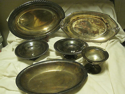 Lot of 6 ASST Silver Plate Serving PCS-SERVING DISH W/LID/CANDY DISHES/DESSERT