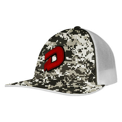 DeMarini D Logo Camo Baseball/Softball Trucker Hat - Snow Camo/Red - Large/XL
