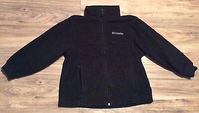 Columbia Fleece Jacket Size S 6/7 Youth Black Full Zip Up Coat Boys Girls Small