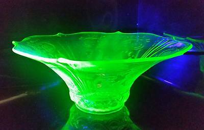 RARE Lancaster Glass Co. C1930's Rare Large Uranium glass bowl - Sphinx pattern
