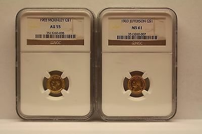 1903 Louisiana Purchase Gold $1 Coins: Jefferson NGC MS61 & McKinley NGC AU55