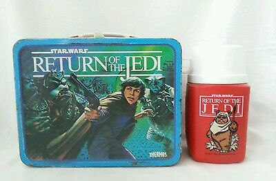 Vintage Star Wars Return Of The Jedi ROTJ Metal Lunchbox Lunch Box w/ Thermos